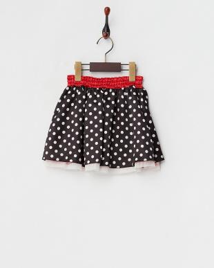 レッド/ブラック  リバーシブルドットスカート見る