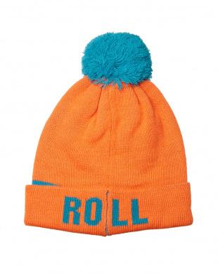オレンジ ロゴデザインニット帽見る