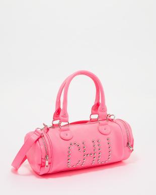 ピンク ネオンカラー「CHU」スタッズバッグ見る