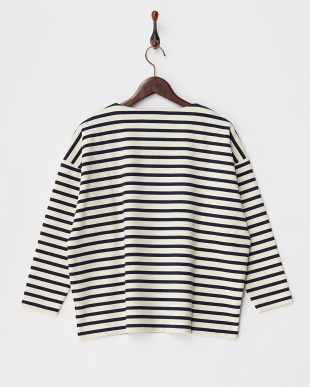 IVORY×NAVY  PONCHI BORDER DOLMAN SLEEVE TOP見る