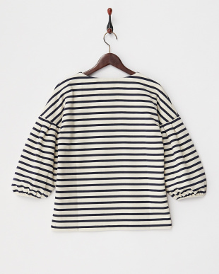IVORY*NAVY  PONCHI BORDER VOLUMED SLEEVE TOP見る