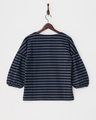 NAVY×GREY  PONCHI BORDER VOLUMED SLEEVE TOP見る