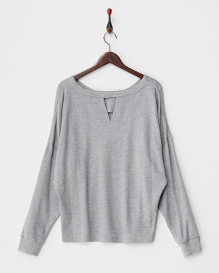GREY  WOOL PONCHI V-BACK TOP見る