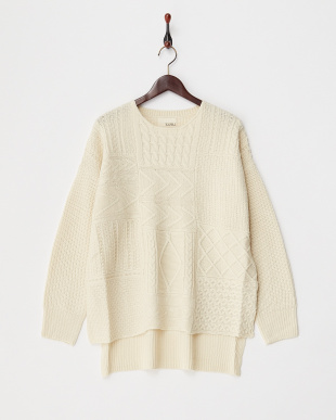 IVORY  PATCHWORK KNIT TOP見る