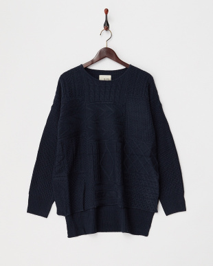 NAVY  PATCHWORK KNIT TOP見る