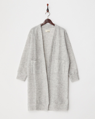 LIGHT GREY  MOHAIRKNIT LONG CRDIGAN見る