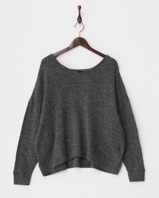 CHARCOAL LOW-GAUGE ANGOLA WOOL V-NECKED TOP見る