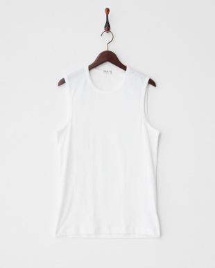 ホワイト  クルーネックノースリーブTシャツ見る