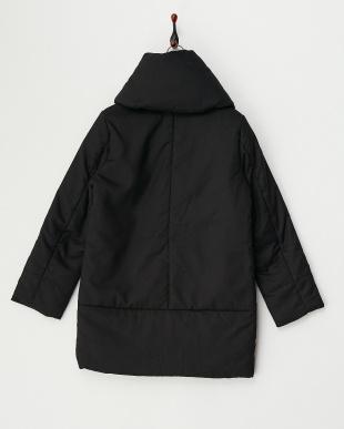 ブラック  ショールカラー中綿コート見る