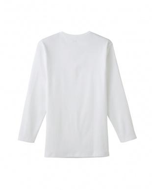 ホワイト  Vネック9分袖シャツ見る
