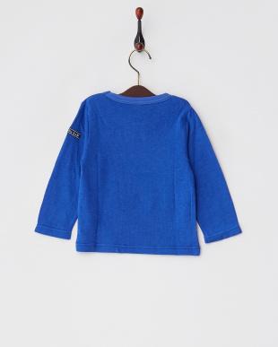 ブルー  レーヨンコットン接結コードロゴ装飾Tシャツ見る