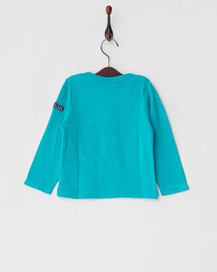 グリーン  レーヨンコットン接結コードロゴ装飾Tシャツ見る
