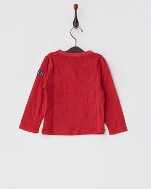 レッド  レーヨンコットン接結コードロゴ装飾Tシャツ見る