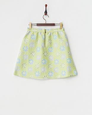 イエロー  ラメ混花柄スカート見る