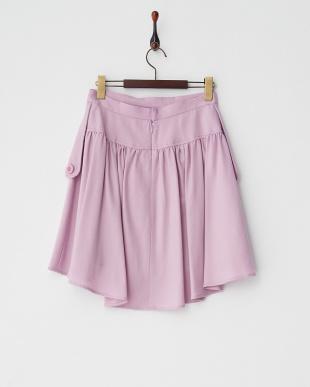 ピンク  ボタン留めレイヤード風スカート見る
