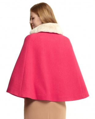 ピンク  ファー衿付きポンチョ風コート見る