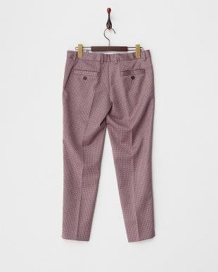 ピンク×ブラック 裾スリット柄パンツ見る