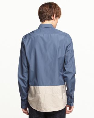ブルー  SHIRT 裾切り替えシャツ見る