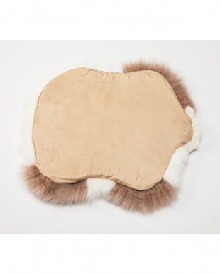 ホワイト ムートン長毛 羊型クッション(裏地付き)見る