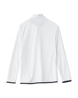 ホワイト  ハーフZIPロングスリーブシャツ見る