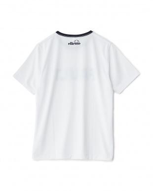 ホワイト×ネイビー  クルーネックプリントTシャツ見る