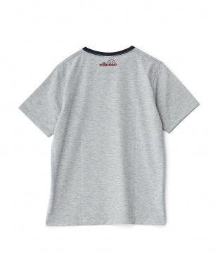 ミックスグレー  クルーネックプリントTシャツ見る