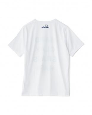 ホワイト×ネイビー  半袖プリントTシャツ見る