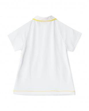 ホワイト  カラフルドット柄切り替え半袖ポロシャツ見る