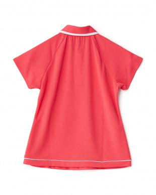アゼリアピンク  カラフルドット柄切り替え半袖ポロシャツ見る