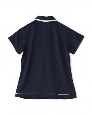 ネイビー  カラフルドット柄切り替え半袖ポロシャツ見る