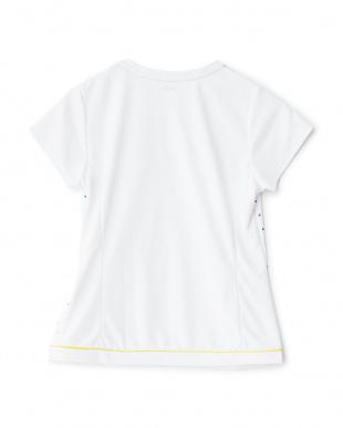 ホワイト  カラフルドット柄切り替えクルーネックTシャツ見る