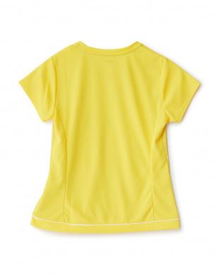 シトラスイエロー  カラフルドット柄切り替えクルーネックTシャツ見る