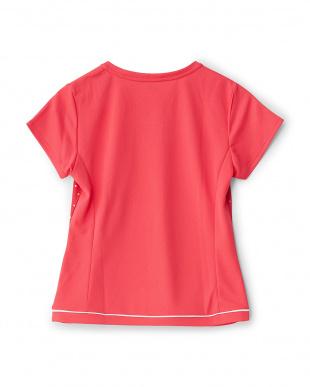 アゼリアピンク  カラフルドット柄切り替えクルーネックTシャツ見る