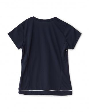 ネイビー  カラフルドット柄切り替えクルーネックTシャツ見る