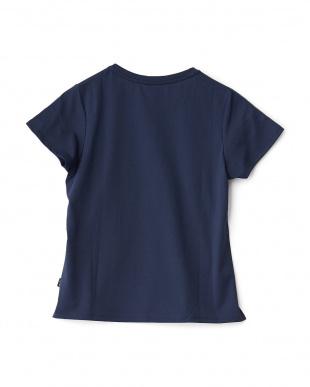 ネイビー  刺繍&プリントTシャツ見る