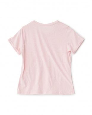ピンクミックス  VネックグラフィックTシャツ見る