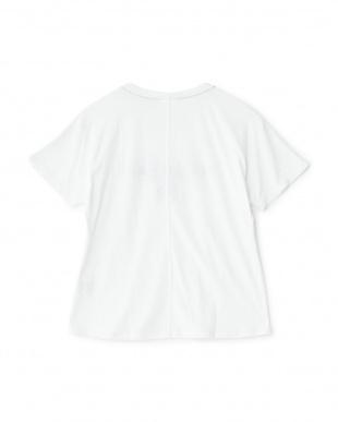 ホワイト  フロッキープリントグラフィックルーズTシャツ見る