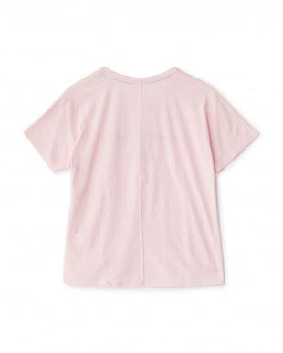 ピンクミックス  フロッキープリントグラフィックルーズTシャツ見る
