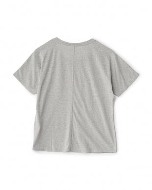 ミックスグレー  フロッキープリントグラフィックルーズTシャツ見る