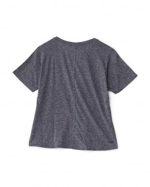 ネイビーミックス  フロッキープリントグラフィックルーズTシャツ見る