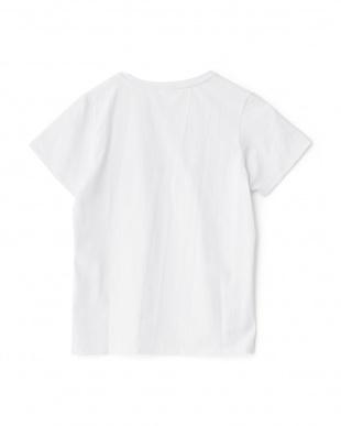 ホワイト  Vネック刺繍&プリントTシャツ見る