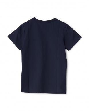 ネイビー  Vネック刺繍&プリントTシャツ見る