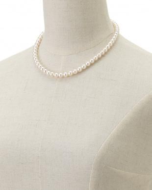 ホワイト 花珠アコヤ真珠ネックレス&イヤリング7-7.5mm見る