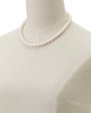 ホワイト 花珠アコヤ真珠ネックレス&イヤリング8-8.5mm見る