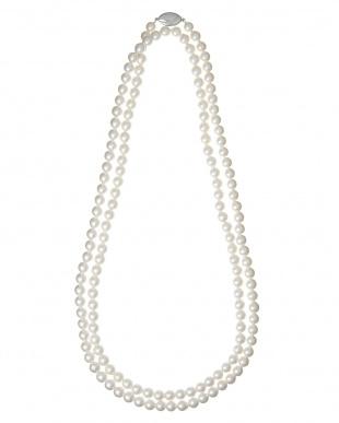WHT×SV925 アコヤ真珠ネックレス 7-7.5mm/約120cm見る