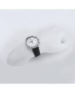 シルバー クロコ型押しカーフストラップ腕時計 2 MEN見る