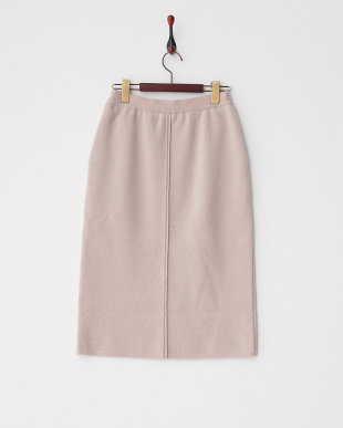 ライトピンク  スリット入りニットスカート見る
