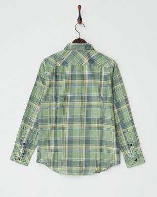 グリーン  杢調長袖シャツ見る