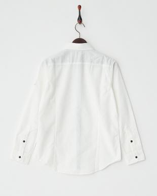 ホワイト  杢調長袖シャツ見る