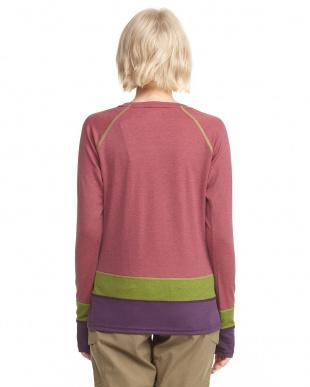 ピンク  裾切替長袖Tシャツ A見る
